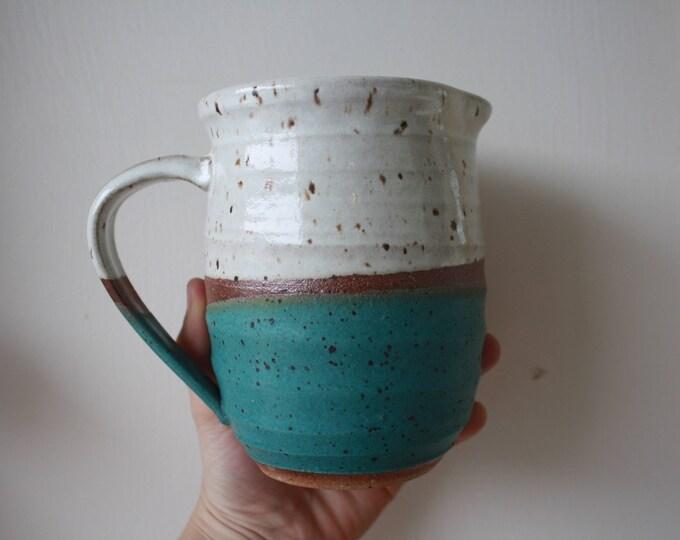 Juice Pitcher - Medium - White - Turquoise - Handmade - Ceramics & Pottery - KJ Pottery