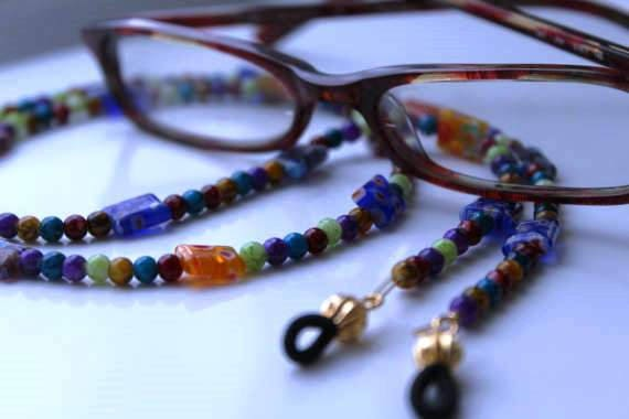 Eyeglass Chain, Reading Glasses Necklace, Millefiori Beaded Chain for Eyeglasses, Colorful Beaded Lanyard,  Unique Birthday Gift Idea