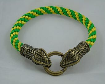 Green and Yellow Snakes Head Kumihimo Bracelet