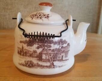 White Country Scene Teapot  Nevco Japan Ceramic
