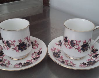 Pair of Vintage Paragon 'Michelle' Bone China Cups and Saucers Coffee