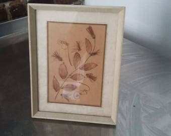 Vintage Dried Flower Collage White Picture Frame Photo Freestanding