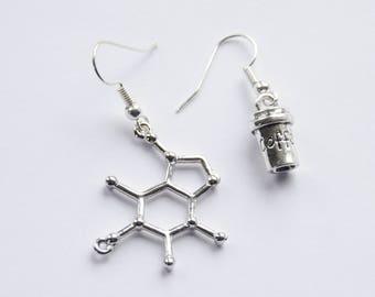 Coffee Earrings, Caffeine Molecule Earrings, Caffeine Earrings, Coffee Gifts, Coffee Jewelry, Caffeine Jewelry, Science Earrings, Chemistry