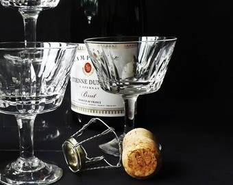 4 Crystal Champagne glazen Coupé, Vintage Stuart Crystal, Prosecco schotel, Cocktail mousserende wijn glaswerk, bruiloft Roemer, St. James