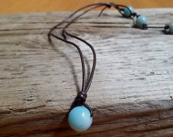 Amazonite choker, amazonite and leather necklace, beach jewelry,  beaded choker, beaded pendant necklace, cruise wear, resort wear
