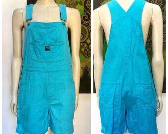 Vintage VIVID turquoise blue short overalls S-M