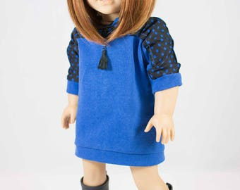 DRESS Tunic Top Blue with Black Polka Dots with LEGGINGS Necklace and Shoes BOOTS Options for American Girl or 18 inch Doll