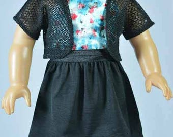 American Girl or 18 Inch Doll High Low  SKIRT in Black with Blue Satin Print HALTER Shirt Top and Lacy Black JACKET