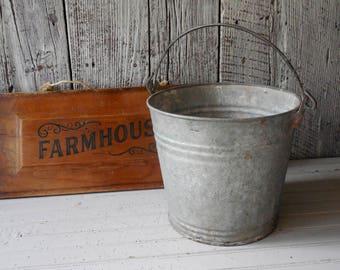 Old Farm Bucket ~Rustic Vintage Galvanized Metal Pail - Wedding Decor, Porch & Entry Welcome Decor /0682