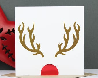 Foil Christmas card, Rudolph, Boyfriend/Girlfriend Christmas card