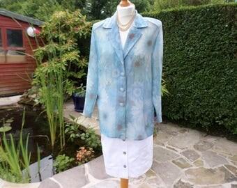 Blue Floral summer Jacket , Sheer fabric , button closure , Vintage jacket Blue white & brown