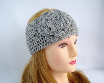 Gray crochet headband Womens headband ear warmer Fall Flower headband head wrap Hand Crocheted head band earwarmer Winter hair accessory