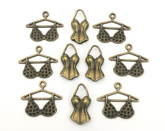 10 lingerie charms bronze tone ,21mm to 24mm # CH 547