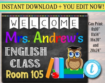 ENGLISH Teacher Classroom Door Sign, Printable Classroom Sign, Custom Teacher Sign, Personalized Teacher Door Hanger, English Teacher Gifts