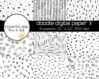 Digital Paper, Black and White, Doodle, Scrapbook Paper,  Digital Paper Pack, Digital Scrapbook, Paper Craft