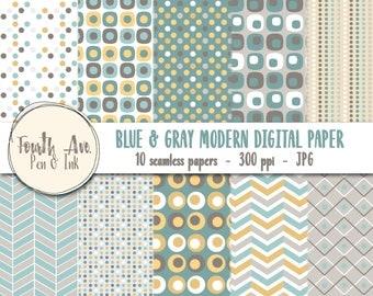 Blue and Gray Digital Paper, Modern, Blue, Gray, Yellow, Patterns, Trending, Digital Paper, Digital Wallpaper, Digital Background
