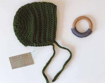 The Sammy Bonnet // Mistletoe // Size 3-6 Months // Ready to Ship
