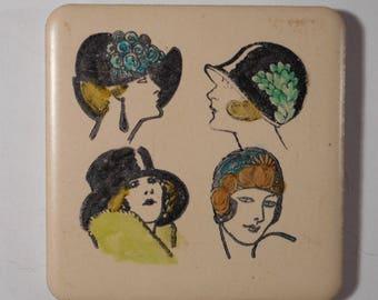 "Decorative  Magnet on Ceramic Tile 2.25 "" X 2.25""  Ladies in Hats"