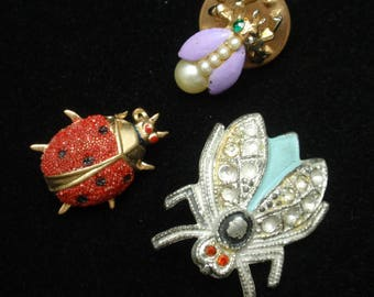 Lot of Three Insect Bug Scatter Pins Vintage