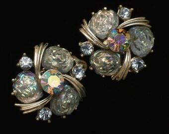 Lisner Earrings Vintage Dusty Blue Stones Rhinestones