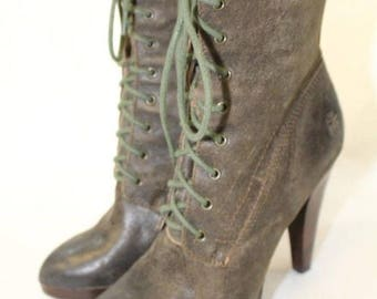 FRYE Womens Boots, Frye Designer Boots, Leather Lace Up Boots, 7M Boots, Distressed High Heel Boots, Frye Heel Boots