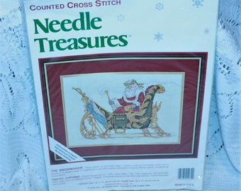 JCA Needle Treasures counted cross stitch kit #02939 The Snowmaker Sealed Made in the USA!
