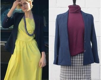 Vintage 1960s-Style Navy Blue Blazer // Slim Fit Blazer sz XS / S