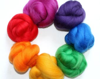 Brights Colour Pack 7 x 10g Super Soft 100% Merino wool tops