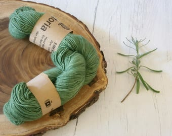 Merino Sock Yarn 100g - 4ply Green Silver Sparkle Sock Wool - Hand Dyed with Natural Dyes