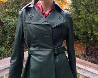 Green Leather 70s Rockabilly Boho Hipster Jacket Retro Vintage Bohemian Rocker Moto Bikers Coat
