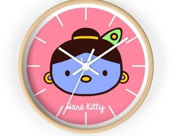Hare Kitty Hello Krishna Wall Clock Watch Time Alarm