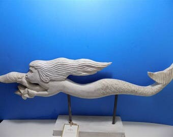 NEW Rare Wood Carved Mermaid Art Sculpture Figurines  Gift Home Decor Hand Carved