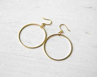 Circle - earrings - geometric earrings - round discreet earrings - earrings - earrings - minimalist - E33 earrings gold plated