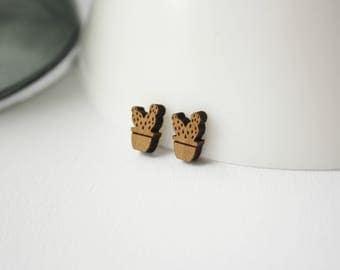 Cactus cacti wooden earrings C64