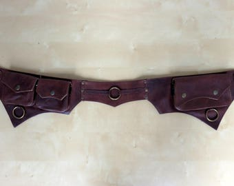 Leather Utility belt psytrance style in dark brown leather - Ring Model
