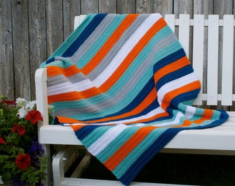 Crochet, half double stitch, Big Blue Sea baby/toddler/adult lap blanket