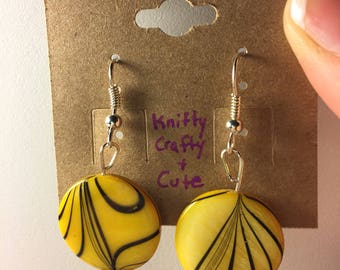 Diffuser earrings // lava stone // yellow with black stripes