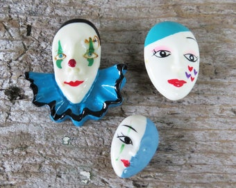 3 - 1980's Pins/Brooches- Clown Face- Colorful Mask Resin Pins - Mardi Gras | Festival Pins