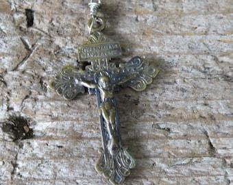 Vintage  Brass Gothic Pardon Crucifix - Jesus Nazarenus Rex Judaeorum - Italian Sacramental Crucifix for Rosary