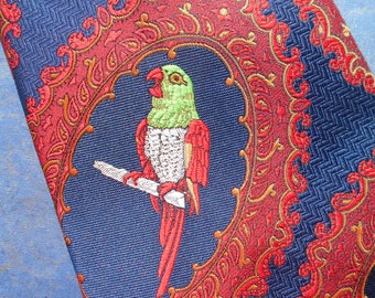 Vintage parrot necktie, French vintage necktie, hipster fashion from France. Blue red and green with parrots.