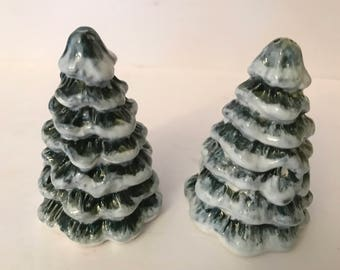 Christmas Snowy Tree Salt and Pepper Shakers-Great Condition-never used