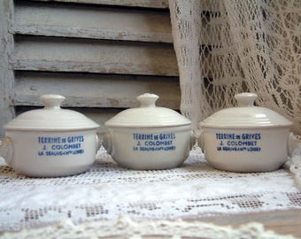 Set of 3 french vintage ironstone terrine pots with lids. French country stoneware. Lionshead terrine pot. Rustic french farmhouse decor.