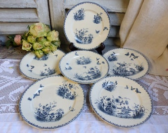 Set of 6 Antique french transferware dessert plates. Blue transferware dessert plates. Navy blue Butterflies Flowers. French country