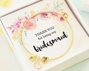 Bridesmaids Gold Monogram Bracelet - Bridesmaid Bracelets - Gold Bridesmaid Bracelets - Bridesmaid Gifts (EB3144WC)