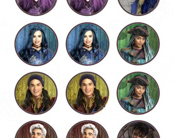 Disney Descendants 2 party decoration edible cupcake images cupcake toppers