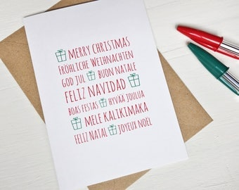 Christmas card Merry christmas in many languages greeting cards christmas gifts red