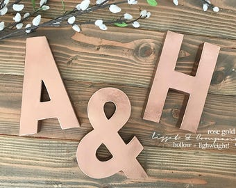 Rose Gold; Gold Letters; metal letters; wedding letters; name sign; 3d letters; rustic wedding decor; wedding initials; name