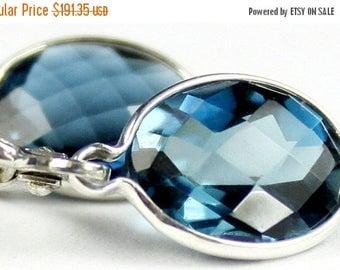 On Sale, 20% Off, London Blue Topaz, 925 Sterling Silver Leverback Earrings, SE101