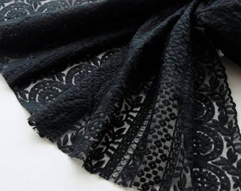 1 yard organza, cotton black embroidery lace fabrics, wedding Bridal lace fabrics, floral lace trim, for DIY dress, Width 130cm