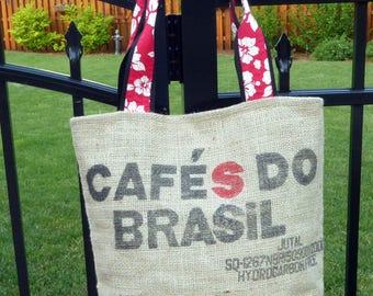 Recycled Burlap Coffee Bean Tote Market Bag  Brasil  Brazil